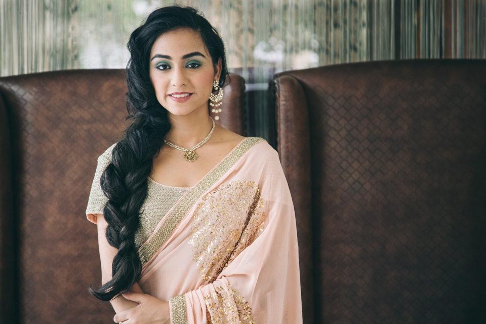 bridal pink embellished sari