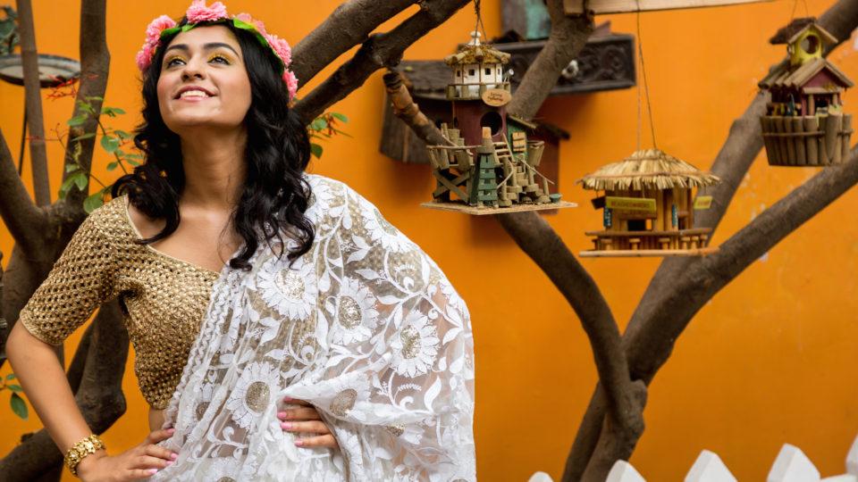 white sari in lace